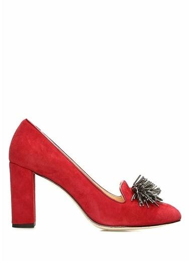 Beymen Club Kalın Topuklu Deri Süet Ayakkabı Kırmızı